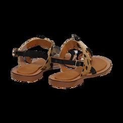 Sandali infradito neri in eco-pelle con dettaglio leopard, Primadonna, 135201202EPNERO036, 004 preview