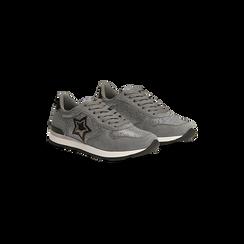 Sneakers grigie dettagli glitter , Scarpe, 121308201LMGRIG, 002 preview