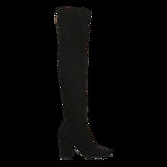 Stivali sopra il ginocchio scamosciati neri, tacco 9,5 cm, Scarpe, 122186681MFNERO, 001 preview
