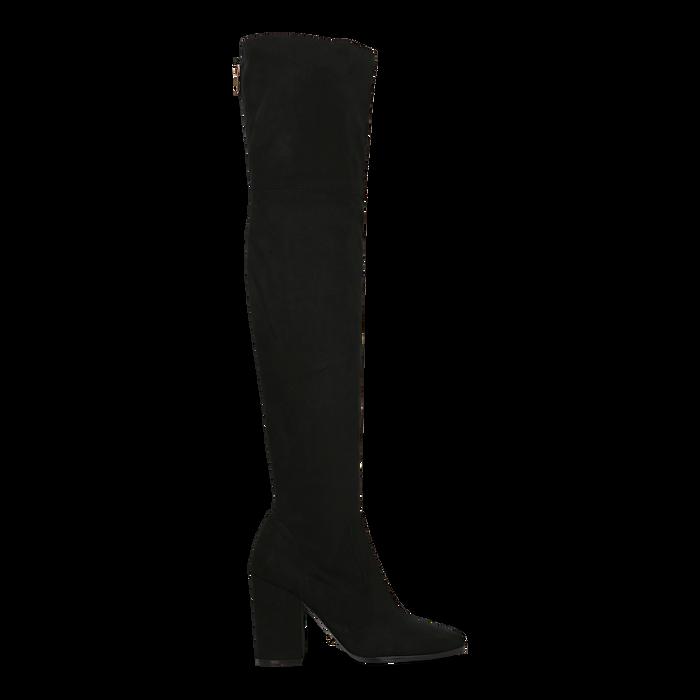 Stivali sopra il ginocchio scamosciati neri, tacco 9,5 cm, Scarpe, 122186681MFNERO
