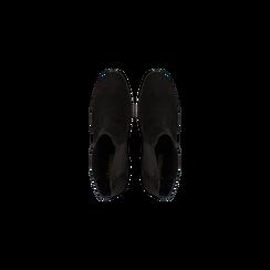 Chelsea Boots in vero camoscio, tacco quadrato medio 5,5 cm, Primadonna, 127722102CMNERO, 004 preview