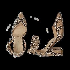 Décolleté beige in eco-pelle snake print, tacco 9 cm, Primadonna, 154820629PTBEIG035, 003 preview