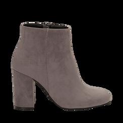 Ankle boots grigi in microfibra, tacco 9 cm , Stivaletti, 142708221MFGRIG035, 001a
