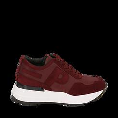 Sneakers bordeaux in tessuto tecnico, suola 5,50 cm , Scarpe, 142898983TSBORD035, 001a