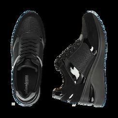 Sneakers nere glitter, zeppa 6 cm , Primadonna, 162801945GLNERO037, 003 preview