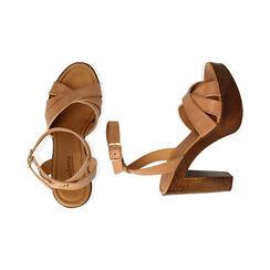 Sandali beige in pelle, tacco 11,5 cm , Primadonna, 174304931PEBEIG035, 003 preview