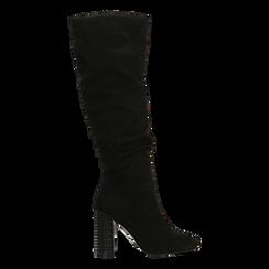 Stivali neri scamosciati con gambale drappeggiato, tacco alto 9,5cm, Primadonna, 124911102MFNERO035, 001a