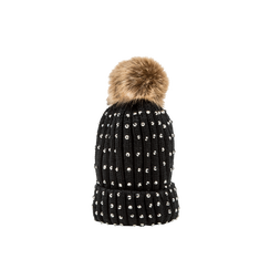 Berretto nero in lana con strass e pon-pon, Saldi Abbigliamento, 12B409806TSNERO, 001 preview