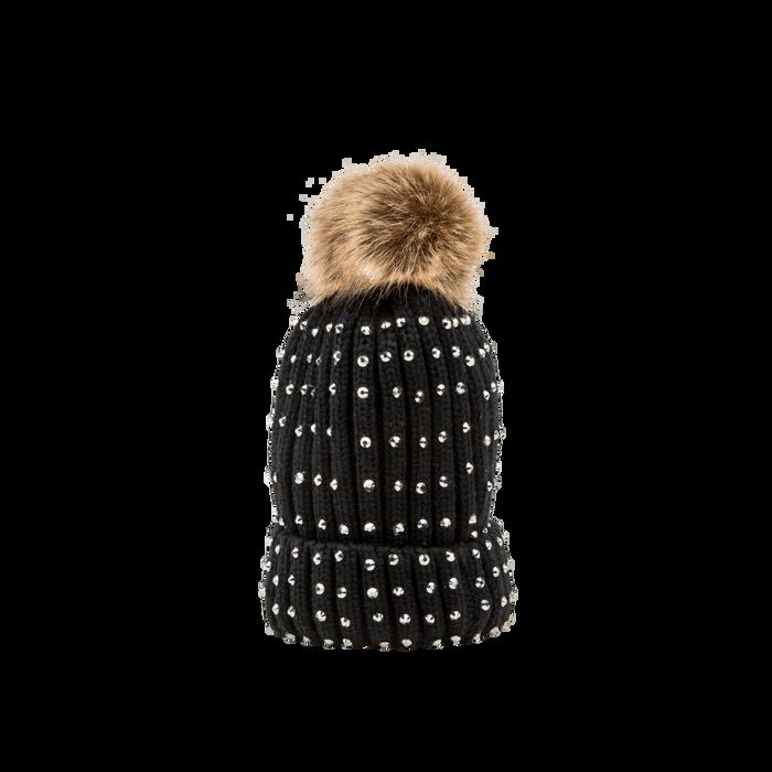 Berretto nero in lana con strass e pon-pon, Saldi Abbigliamento, 12B409806TSNERO