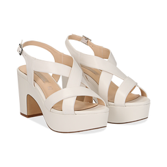 Sandali con plateau bianchi in eco-pelle, tacco 9 cm ,