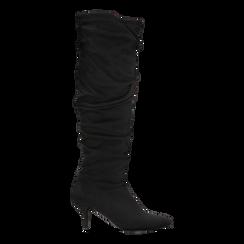 Stivali neri scamosciati con gambale drappeggiato, tacco medio 4 cm, Primadonna, 122707336MFNERO036, 001a