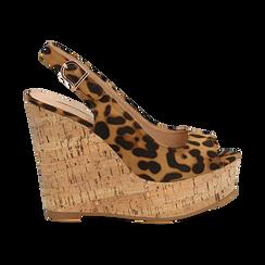 Sandali platform leopard in microfibra, zeppa in sughero 12 cm , Primadonna, 134900982MFLEOP035, 001 preview