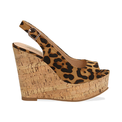 Sandali platform leopard in microfibra, zeppa in sughero 12 cm , Scarpe, 134900982MFLEOP035, 001a