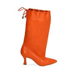 Stivali arancio in pelle, tacco 7,5 cm, Primadonna, 17A506766PEARAN036, 001a