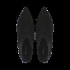 Stivaletti Chelsea neri in vero camoscio, tacco midi 6 cm, Primadonna, 12D618401CMNERO, 004 preview