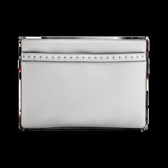 Pochette bianca in ecopelle con dobbia fibbia, Saldi, 122701281EPBIANUNI, 002 preview