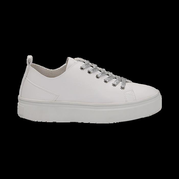 Sneakers bianche in eco-pelle, Scarpe, 132500778EPBIAN036