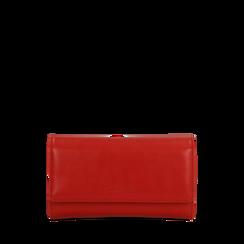 Portafoglio rosso in ecopelle, Saldi, 122200898EPROSSUNI, 001a