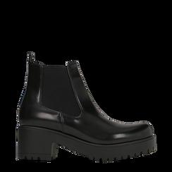 Chelsea Boots neri con suola alta, tacco 5,5 cm, 122808601ABNERO037, 001a