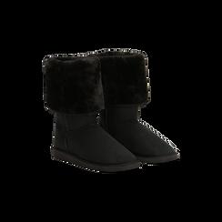 Scarponcini invernali scamosciati neri con risvolto in eco-fur, Primadonna, 125001204MFNERO, 002 preview