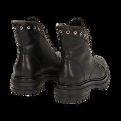 Anfibi neri in eco-pelle con gambale sagomato, Scarpe, 140618196EPNERO035, 004 preview