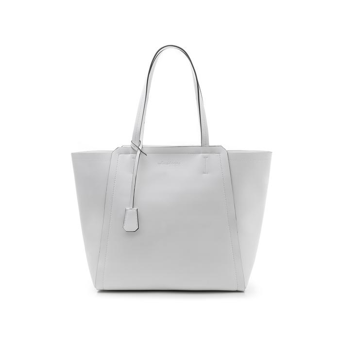 Maxi-bag bianca in eco-pelle con design a trapezio, Borse, 133763772EPBIANUNI