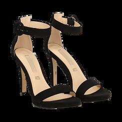 Sandali neri in microfibra, tacco stiletto 10 cm, Sandali con tacco, 132127405MFNERO040, 002a