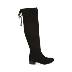 Overknee neri in microfibra, tacco 4 cm , Stivali, 143009807MFNERO035, 001 preview