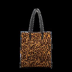 Borsa shopper leopard in microfibra, Saldi, 122900004MFLEOPUNI, 001a