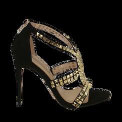 Sandali borchiati neri in microfibra, tacco 11,50 cm, OUTLET, 152100920MFNERO036, 001a