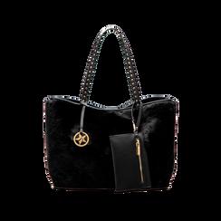 Borsa shopper nera in pelliccia con pochette e portamonete, Borse, 125702076FUNEROUNI, 001 preview
