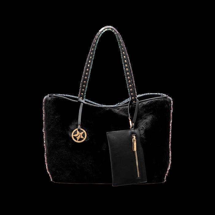 Borsa shopper nera in pelliccia con pochette e portamonete, Borse, 125702076FUNEROUNI