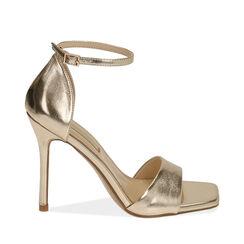 Sandali oro laminato, tacco 11 cm , 172114210LMOROG041, 001a