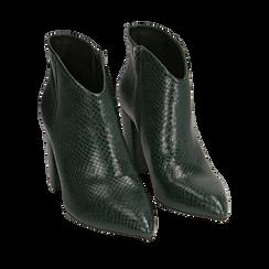 Ankle boots verdi stampa vipera, tacco 9 cm , Primadonna, 164916101EVVERD035, 002a