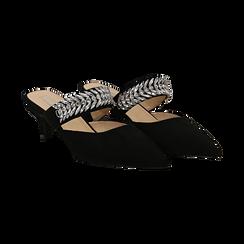 Mules nere in microfibra con cristalli, tacco 5 cm, Scarpe, 134942558MFNERO037, 002 preview