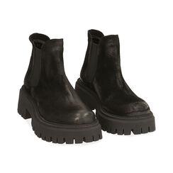 Chelsea boots neri in camoscio, tacco 5,5 cm , Primadonna, 187204438CMNERO035, 002 preview