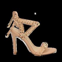Sandali borchiati nude in eco-pelle, tacco 11,50 cm, Scarpe, 132131510EPNUDE035, 001a