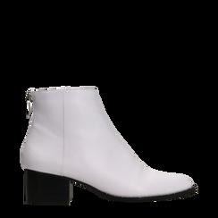 Tronchetti bianchi con zip, tacco medio 4,5 cm, Primadonna, 122752721EPBIAN035, 001a