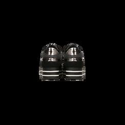 Sneakers nere con maxi platform a righe bianche e nere, Scarpe, 122707075MFNERO, 003 preview