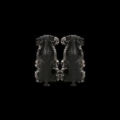 Décolleté nere con cinturino a T borchiato, tacco stiletto 10 cm, Scarpe, 122146820EPNERO, 003 preview