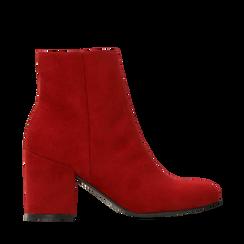 Ankle boots bordeaux in microfibra, tacco 7,5 cm , Primadonna, 162762715MFBORD035, 001a