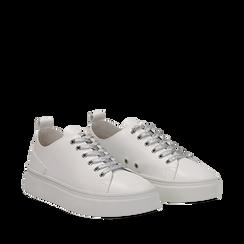 Sneakers bianche in eco-pelle, Scarpe, 132500778EPBIAN035, 002a