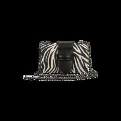 Pochette con tracolla in microfibra stampa zebrata, Saldi Borse, 126606618MFZEBRUNI, 001 preview