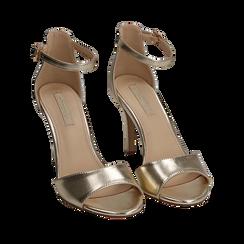 Sandali oro in eco-pelle laminata, tacco 9,5 cm, Sandali con tacco, 154901361LMOROG035, 002a
