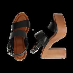 Sandali platform neri in eco-pelle con due fasce, tacco 12 cm , Saldi Estivi, 132147761EPNERO035, 003 preview