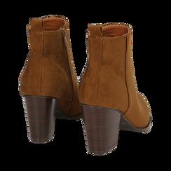Ankle boots cuoio in microfibra, tacco 8,50 cm, Primadonna, 160585965MFCUOI035, 004 preview