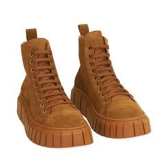 Sneakers cognac in camoscio, platform 4 cm , Primadonna, 18A504002CMCOGN035, 002a