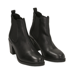 Ankle boots neri in pelle, tacco 4,50 cm, Primadonna, 169495750PENERO035, 002 preview