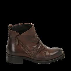 Biker boots neri in pelle di vitello drappeggiata, Stivaletti, 14A919608VICUOI035, 001a
