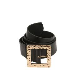 Cintura nera in eco-pelle con fibbia oro, Abbigliamento, 14B410810EPNEROUNI, 001a